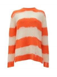 ACNE STUDIOS Kantonia striped distressed knitted sweater / oversized slouchy orange stripe crew neck / distressed sweaters