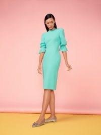 Goat KARMINE PENCIL DRESS ~ mint green gathered sleeve dresses