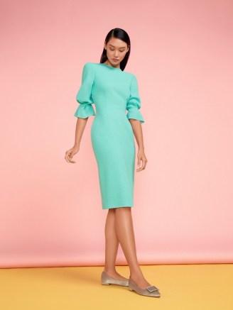 Goat KARMINE PENCIL DRESS ~ mint green gathered sleeve dresses - flipped