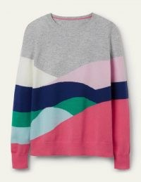 BODEN Kesteven Cashmere Jumper Grey Melange, Landscape / soft colour block crew neck