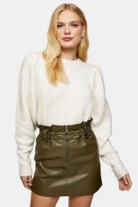 Topshop Khaki Zip Paperbag Mini PU Skirt | green faux leather skirts