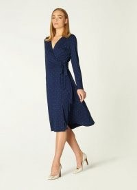 L.K. BENNETT KHLOE NAVY AND GREEN SPOT JERSEY WRAP DRESS / modern classics / classic style clothing
