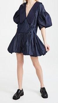 Kika Vargas Victoria Dress in Navy Blue | voluminous dresses