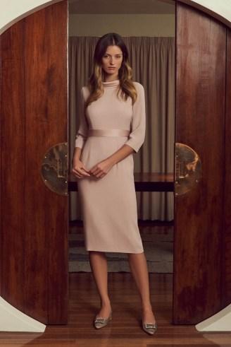 Goat KLARISSA PENCIL CADY DRESS ~ dusky pink occasion dresses - flipped