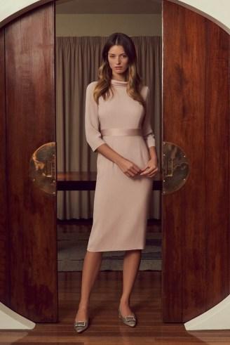 Goat KLARISSA PENCIL CADY DRESS ~ dusky pink occasion dresses