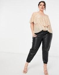 Lace & Beads Plus ruffle cold shoulder top in blush mini heart print ~ feminine plus size tops