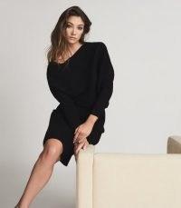 REISS LARA OFF-THE-SHOULDER KNITTED DRESS BLACK ~ LBD