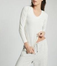 REISS LARKIN HIGH STRETCH SEAMLESS TOP WHITE / loungewear tops