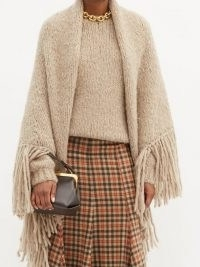 GABRIELA HEARST Lauren fringed cashmere wrap ~ beige knitted capes ~ luxe fringe trim wraps