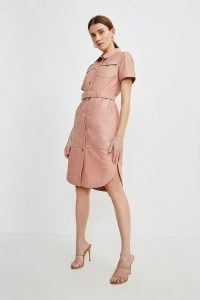 KAREN MILLEN Leather Perforated Belted Shirt Dress Blush / luxe curved hem dresses