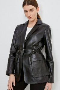 KAREN MILLEN Black Leather Perforated Panelled Blazer / luxe gathered waist blazers