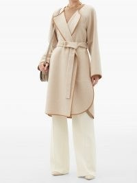 CHLOÉ Leather-trimmed wool-blend felt coat – belted wrap coats – chic outerwear