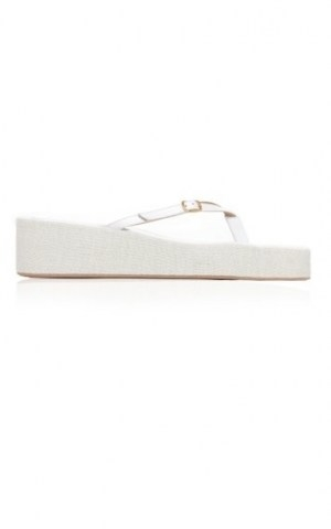 Jacquemus Les Tatanes Lin Leather Platform Sandals ~ white leather and canvas thonged platforms - flipped
