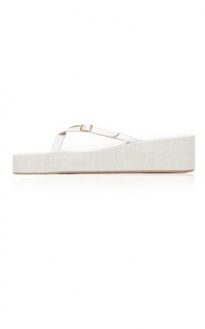 Jacquemus Les Tatanes Lin Leather Platform Sandals ~ white leather and canvas thonged platforms