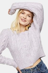 TOPSHOP Lilac Cable Knitted Cardigan