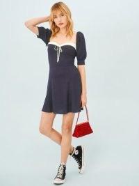 Reformation Lillet Dress in Navy | dark blue puff sleeve dresses