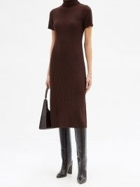 STAUD Lilou roll-neck ribbed wool-blend sweater dress | chocolate brown knitted dresses