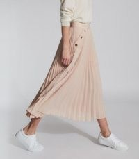 REISS LINA PLEATED MINI SKIRT NUDE ~ light pink skirts