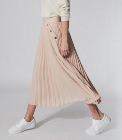 REISS LINA PLEATED MINI SKIRT NUDE ~ light pink skirts - flipped