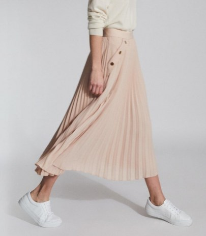 REISS LINA PLEATED MINI SKIRT NUDE ~ light pink skirts