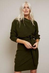 MIKA KHAKI SLASH-NECK KNIT DRESS ~ green knitted dresses