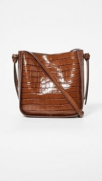 Loeffler Randall Mackenzie Crossbody Bag / brown croc embossed handbag