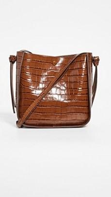 Loeffler Randall Mackenzie Crossbody Bag / brown croc embossed handbag - flipped