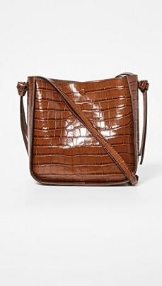 Loeffler Randall Mackenzie Crossbody Bag / brown croc embossed handbag