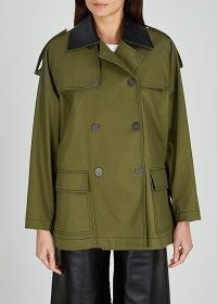 LOEWE Army green leather-trimmed twill jacket ~ military style jackets