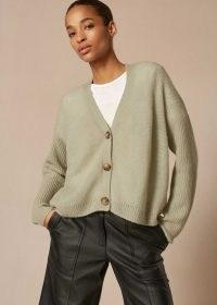 Me+Em Lofty Cashmere Silk Boxy Cardigan Dusted Sage ~ meandem fashion