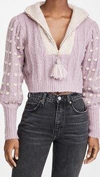 LOVESHACKFANCY Jonae Cropped Mock Zip Up Sweater Muscat Grape | textured crop jumper