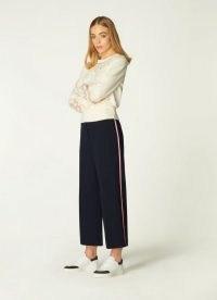L.K. BENNETT LUCIANA NAVY WIDE LEG TROUSERS ~ casual crop leg pants ~ loungewear