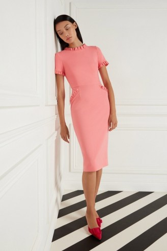 Goat LUCILLE JERSEY PENCIL DRESS ~ coral pink frill trim dresses - flipped