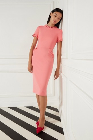Goat LUCILLE JERSEY PENCIL DRESS ~ coral pink frill trim dresses