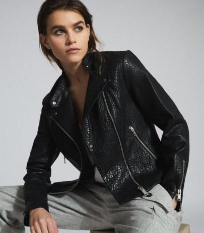 REISS LUELLA TEXTURED LEATHER BIKER JACKET ~ classic zip detail jackets