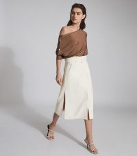 REISS LUNO BELTED MIDI SKIRT WHITE ~ split hem skirts