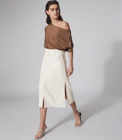 REISS LUNO BELTED MIDI SKIRT WHITE ~ split hem skirts - flipped