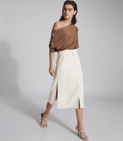 REISS LUNO BELTED MIDI SKIRT WHITE ~ split hem skirts
