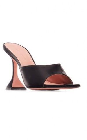 Amina Muaddi Lupita Slippers ~ black leather flared heel mules - flipped
