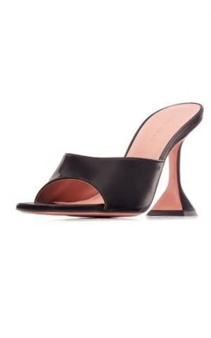 Amina Muaddi Lupita Slippers ~ black leather flared heel mules