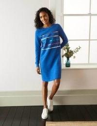 BODEN Mabel Sweatshirt Dress in Summit / blue foil striped sweat dresses