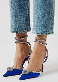 MACH & MACH 105 royal blue crystal-embellished satin pumps ~ glamorous stiletto heels