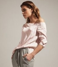REISS MAEVE ONE SHOULDER STRIPE TOP NEUTRAL ~ essential casual style ~ wardrobe essentials