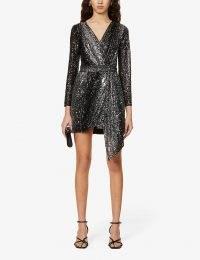 MAJE Rileta wrap-over sequinned mini dress – draped evening dresses