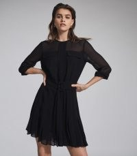 REISS MALLIE LACE TRIM MINI DRESS BLACK ~ LBD ~ BELTED SEMI SHEER OCCASION DRESSES