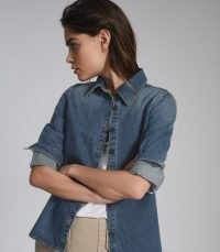 REISS MANDA DENIM SHIRT BLUE ~ casual shirts for the weekend