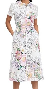 Marchesa Notte Short Sleeve Collared Shirt Dress with Lace Yoke ~ short sleeved floral dresses