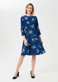 HOBBS MARIETTA FLORAL DRESS ~ blue long sleeve fit and flare dresses