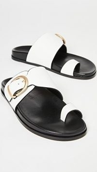 Marion Parke Cyrus Slides / white leather buckled sliders