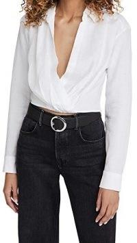 Marissa Webb Maxwell Linen Shirt | white wrap style crop hem shirts